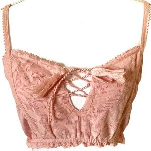 Forever 21: Pink lace crop top with tassels